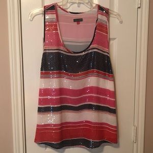 Vince Camuto Sequined Striped Tank